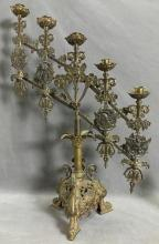 Antique brass adjustable candelabra by Breville Company