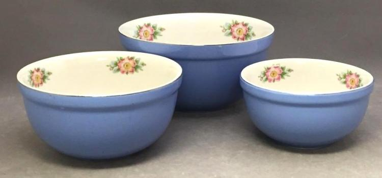 3 Hall's Superior Quality Kitchenware blue glazed porcelain bowls
