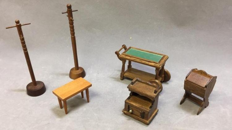 Lot of (6) dollhouse furniture: coatracks; tea caddy; end tables; magazine rack