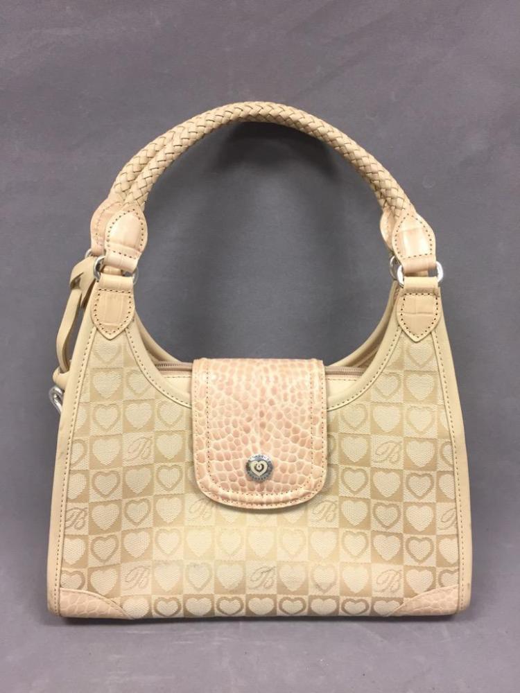 Brighton leather shoulder bag w/heart designs