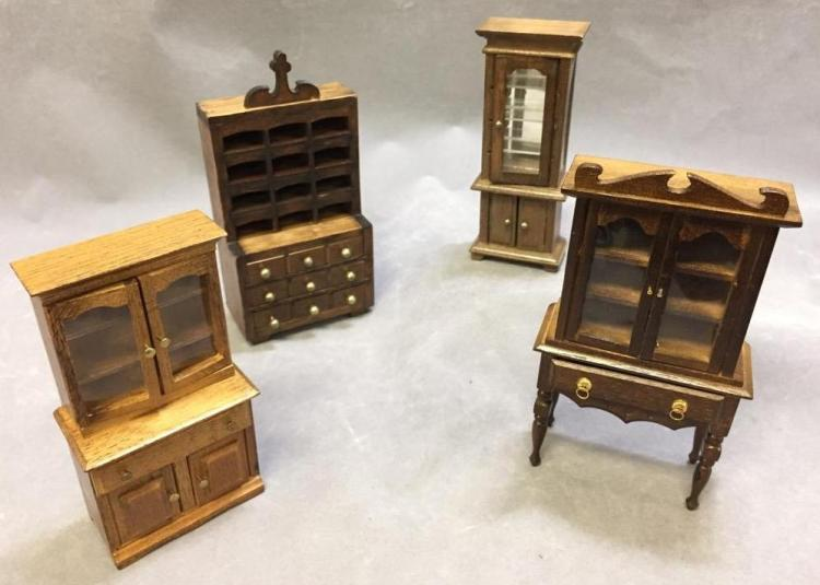 Lot of (4) dollhouse furniture: highboy cabinet, and more