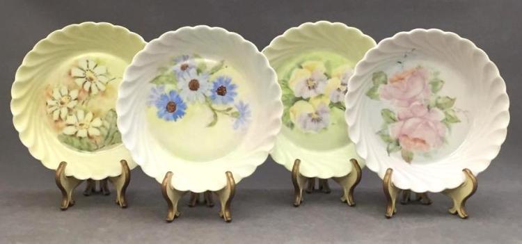 4 Limoges hand-painted porcelain dessert bowls