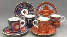 4 Satsuma porcelain teacups & saucers made in Japan for Neiman Marcus