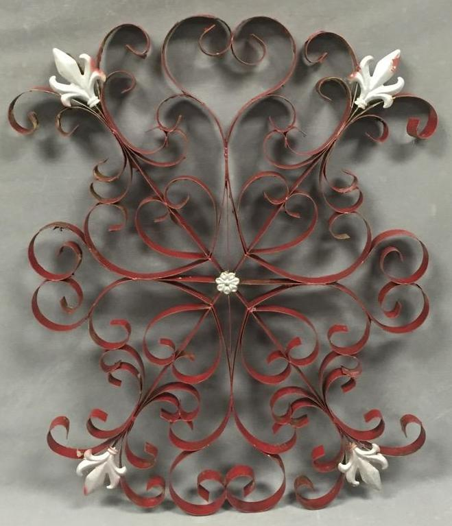 Older painted iron garden decoration w/fleur-de-lis designs