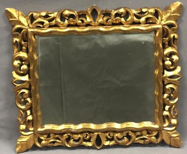 Vintage hand-carved gilded mirror, fleur-de-lis design