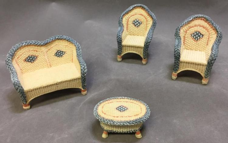 Lot of (4) dollhouse wicker chairs, made of resin