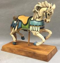 Hand painted carved carousel style horse on stand