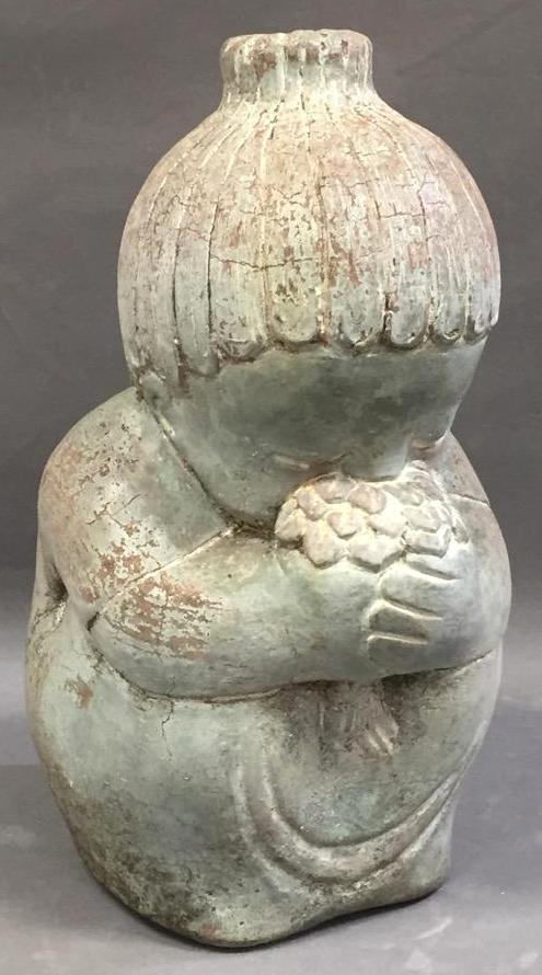 Sculptural garden decoration of young Japanese girl, signed