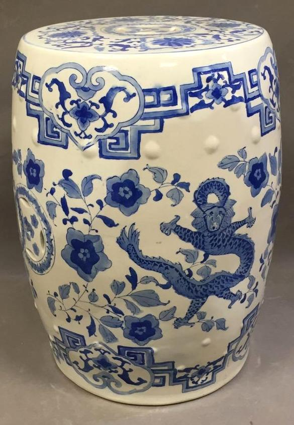 Blue & white porcelain garden seat w/dragon design