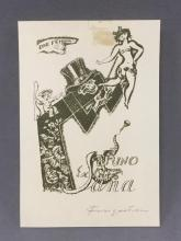 Signed Ex Libris Bruno Sana print by Michael Fingesten