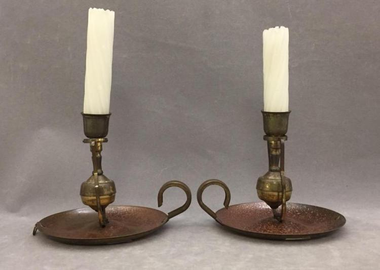 Pair of brass ship's candlesticks that double as wall sconces