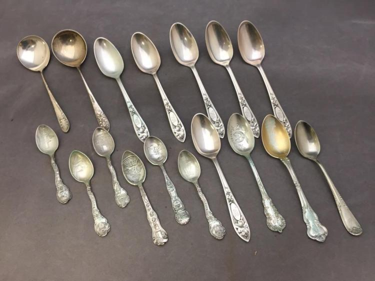 Lot of (17) silver souvenir spoons, marked Sterling. 257.7 grams