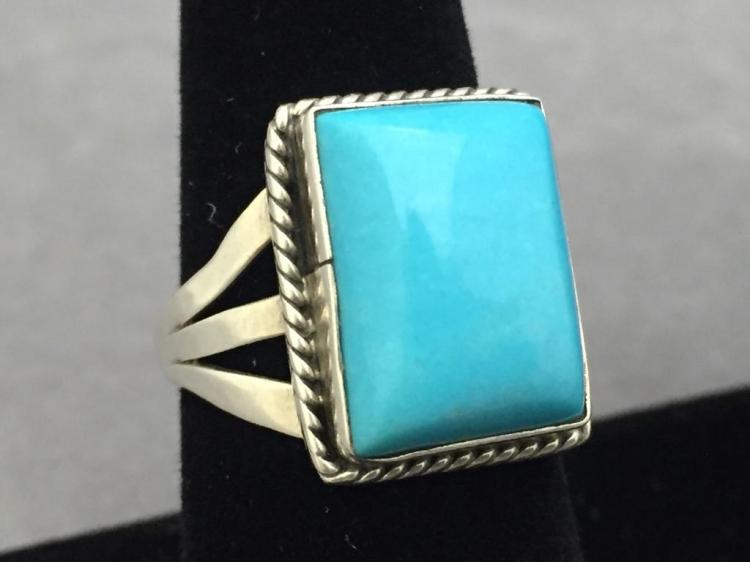 Sterling silver ring w/rectangular turquoise stone, size 8.5, 6.1g