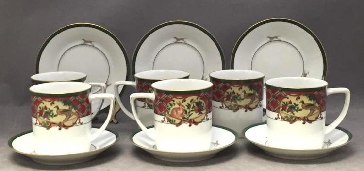 6 Noritake porcelain coffee mugs & saucers,