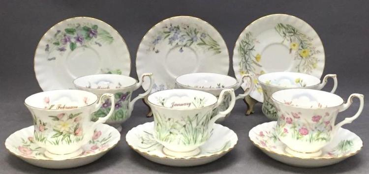 6 Royal Albert porcelain teacups & saucers