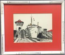 Mid Century cruise ship print, signed