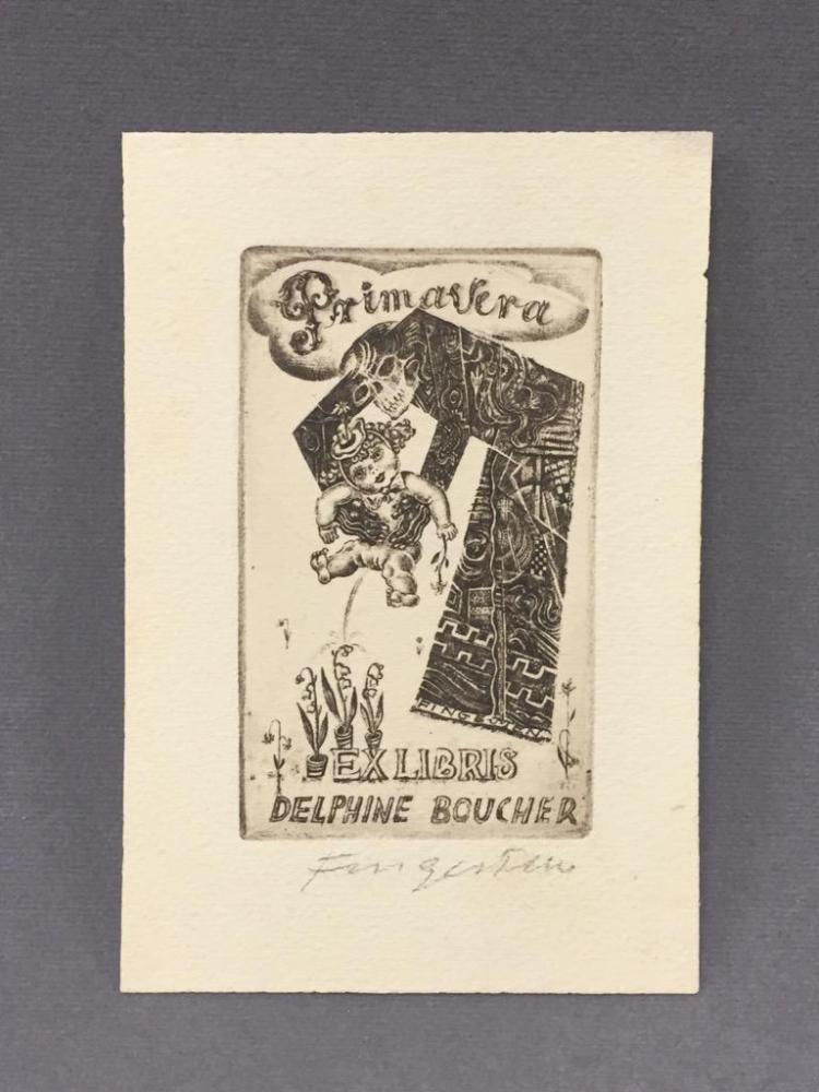 Signed Ex Libris print by Michael Fingesten