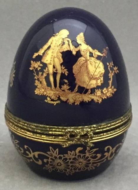 Limoges France gilded porcelain box w/timepiece, timepiece marked