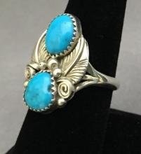 Sterling silver and turquoise ring, 6.6g, size 8.75