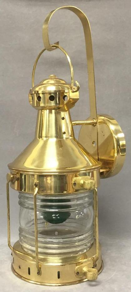 Brass wall mounted electric ships lantern