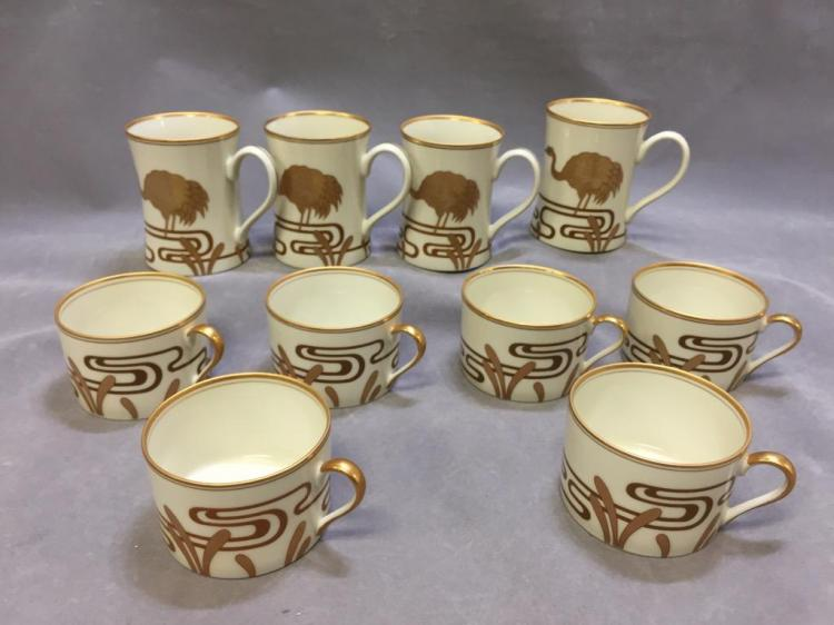 Fitz and Floyd gilded porcelain mugs & teacups