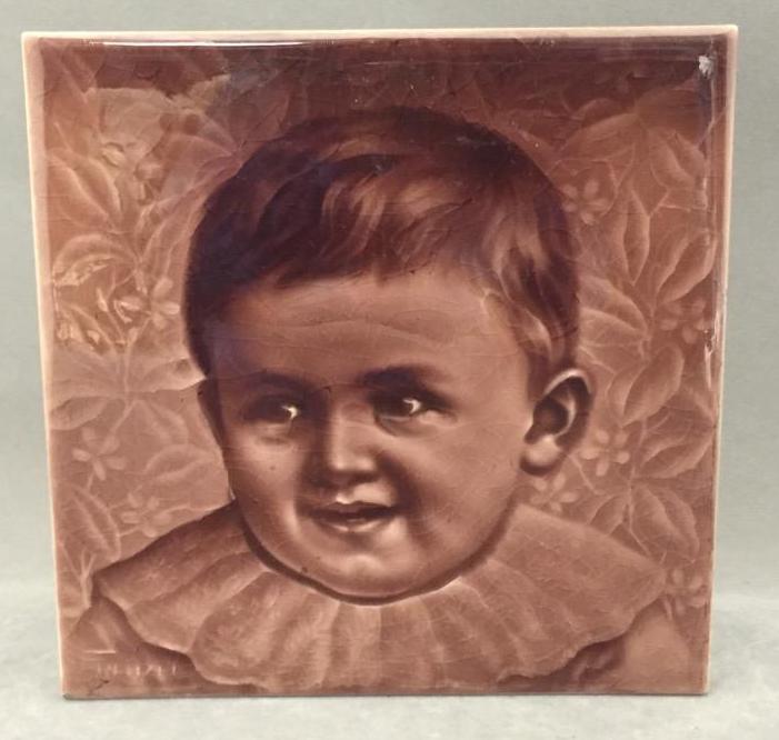 Vintage Frenzel signed hand-painted tile w/image of child