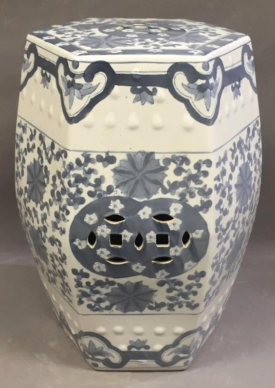 Chinese hexagonal blue & white porcelain garden seat