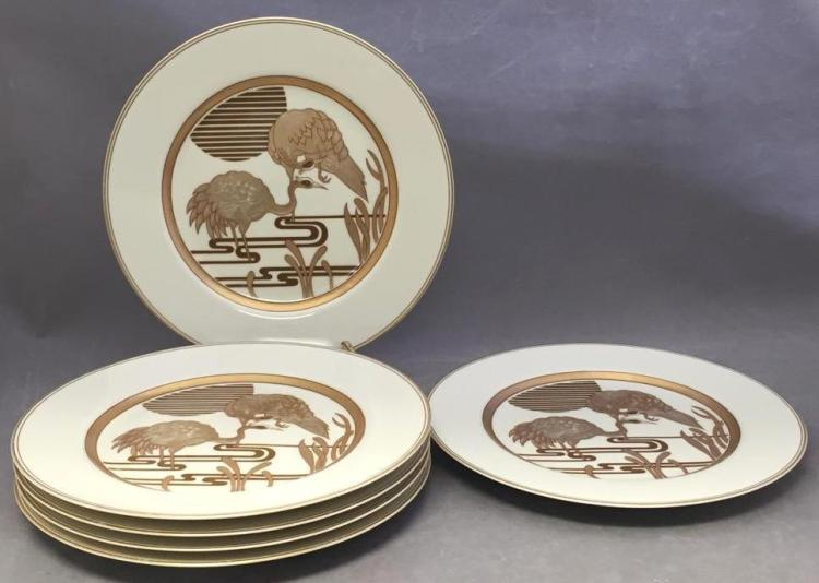 6 Fitz and Floyd gilded porcelain dinner plates
