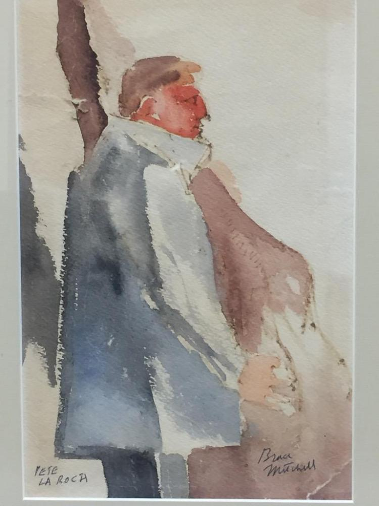 Bruce Mitchell original watercolor painting of musician Pete La Roca, signed