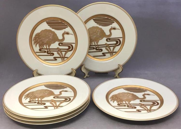 6 Fitz and Floyd gilded porcelain bread plates