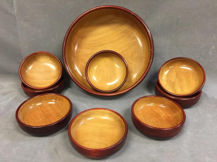 10 Piece set Mid-Century hand made salad bowl set by Cambridgeware
