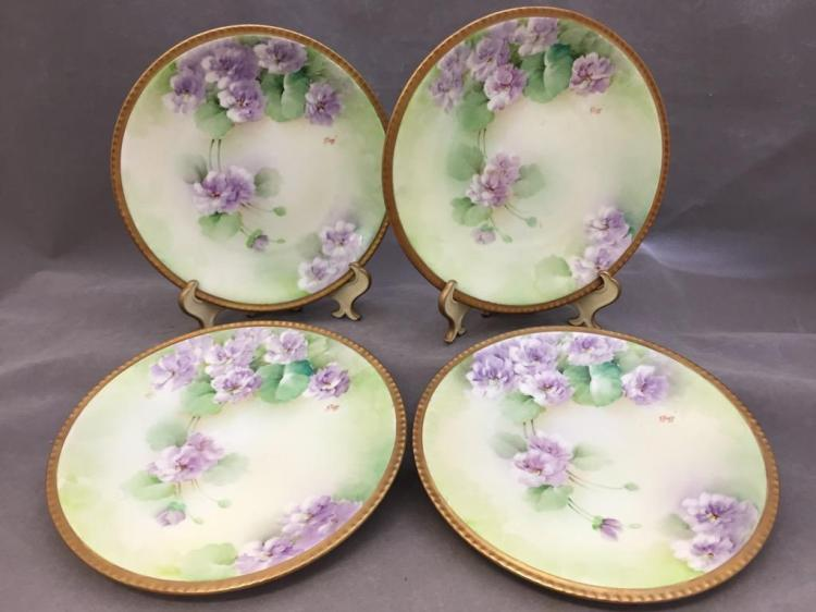 Lot of (4) Richard-Ginori hand painted floral plates, signed