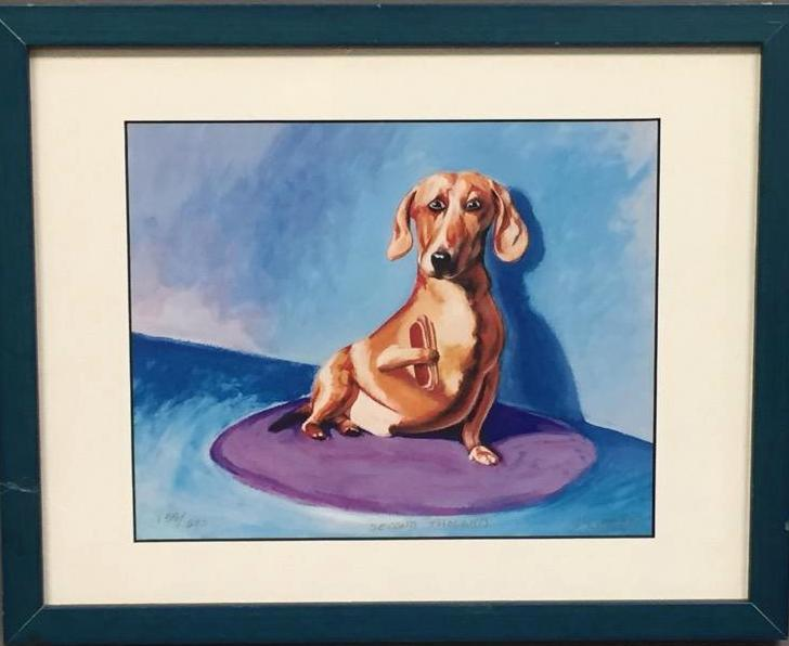 John Sumner, wiener dog giclee print, artist signed and numbered