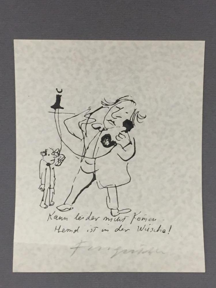 Signed Ex Libris print by Michael Fingesten. Fingesten