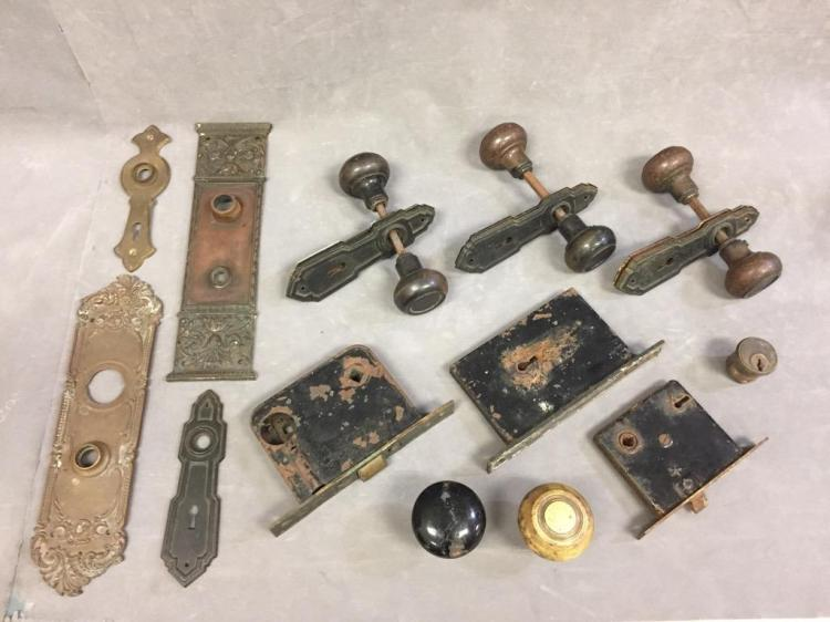 Lot of (13) antique door hardware pieces