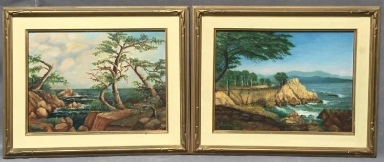 2 Mid Century Montery Coast oil paintings on canvas board by Margaret Montee, both signed