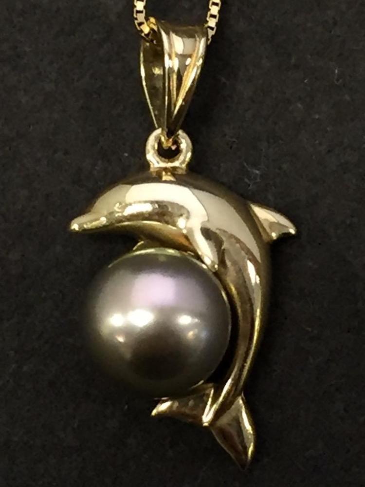 14k Gold & Tahitian black pearl dolphin pendant