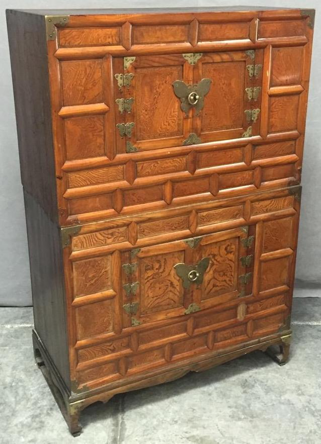 Antique Chinese tansu chest w/butterfly designs
