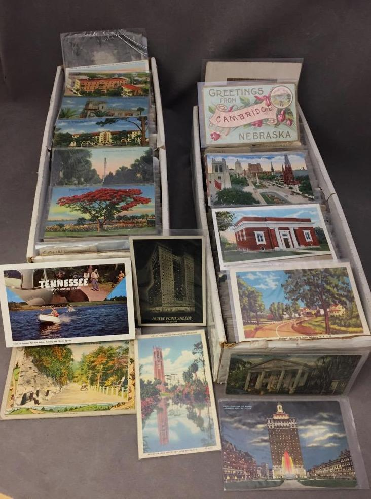 1,179 Vintage United States postcards for most states including New York, Florida, Oregon, Washington D.C., and more