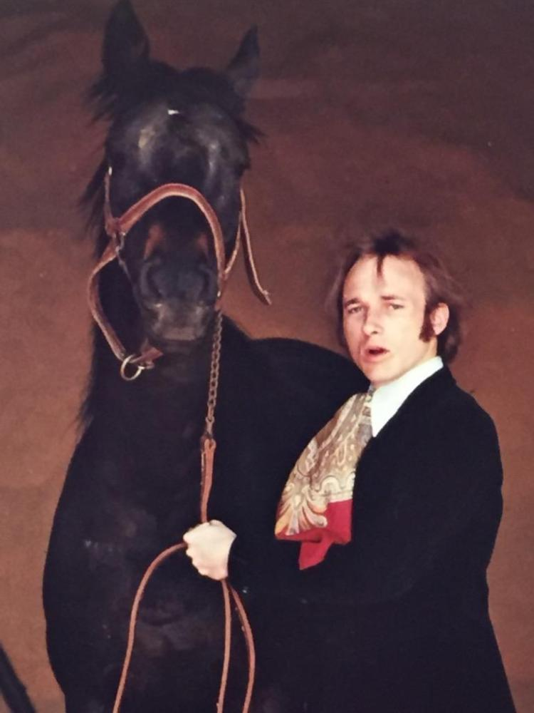 Original photograph of Stephen Stills of Crosby, Stills, and Nash w/his horse