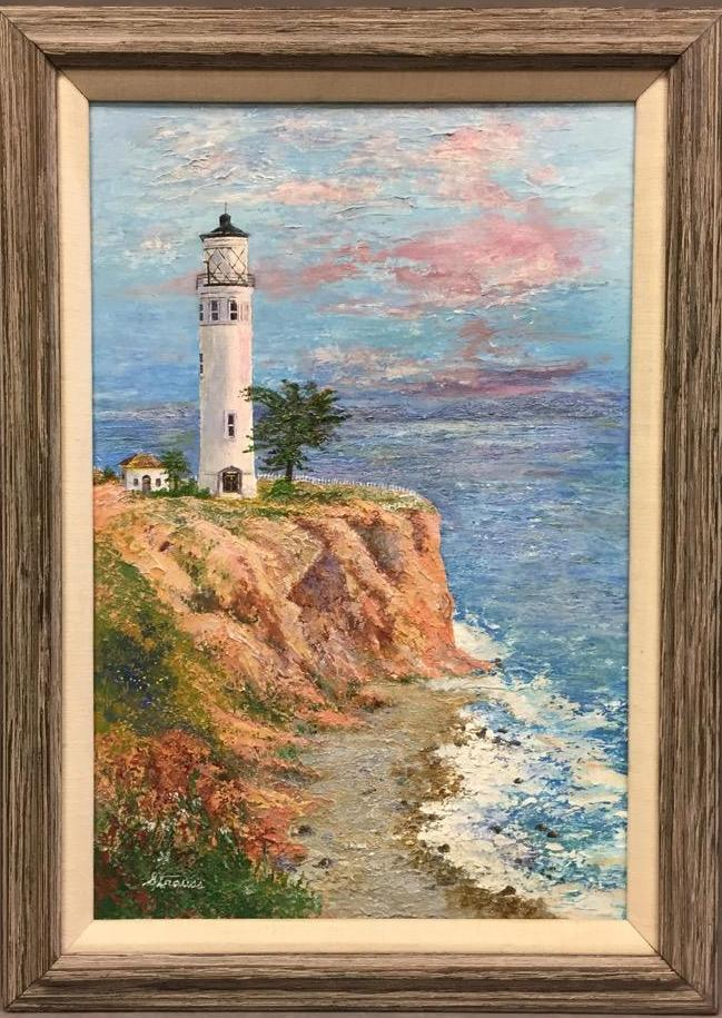 Original lighthouse seascape oil painting by Florence Strauss, signed