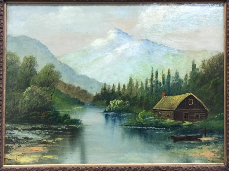 Antique William A. Bixler original oil painting on board, signed