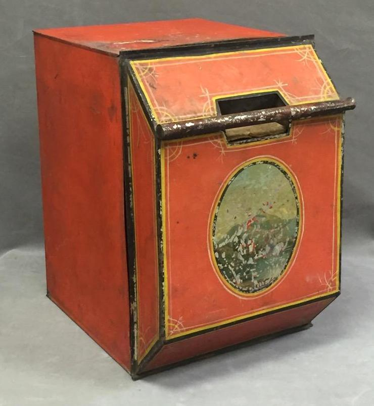 Large antique hand-painted tea or coffee bin
