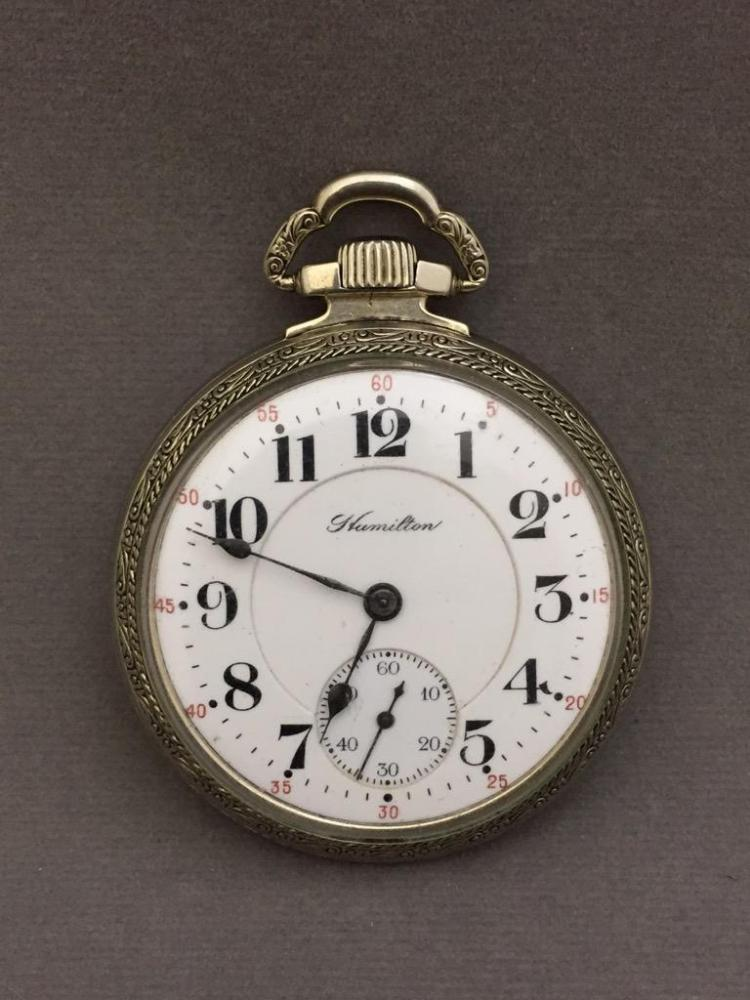 Beautiful Hamilton 1908 white gold filled railroad pocket watch
