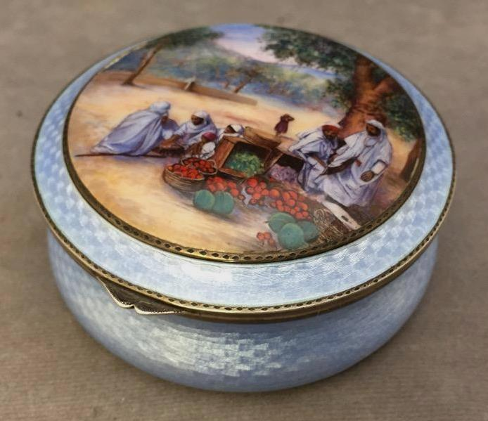 Sterling Silver Guilloche & hand-painted powder jar