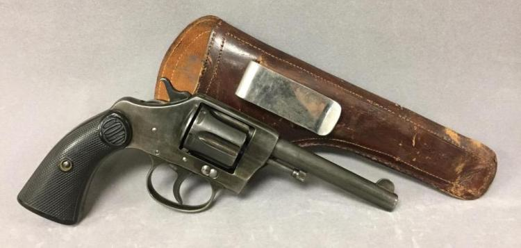 Colt New Police .32 caliber revolver w/Colt leather holster, well maintained and in working order