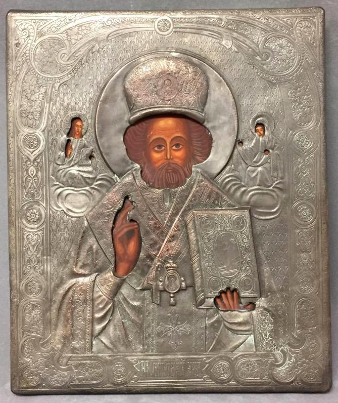 Russian Orthodox icon w/hand-engraving