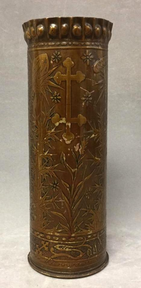 WWI French trench art vase w/thistle motif