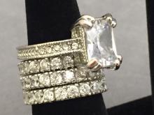 Set of 4 cubic zirconian costume jewelry rings