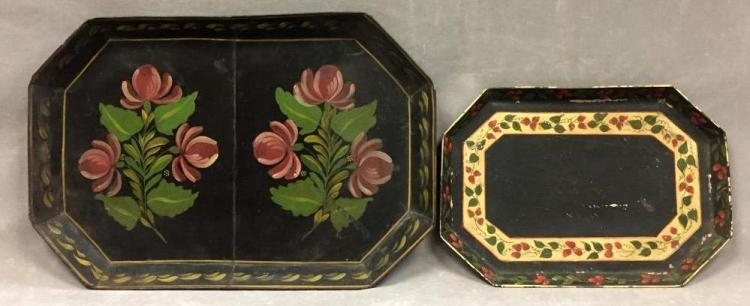 2 Antique hand-painted Toleware trays